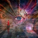 God`s Eye. Figure in red robe floating to God`s eye above the cloud maze. Human elements were created with 3D software and are not from any actual human vector illustration