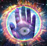 Hand of God. God`s hand. Galaxy in Eye shape. 3D rendering. Sone elements credit NASA Stock Photography