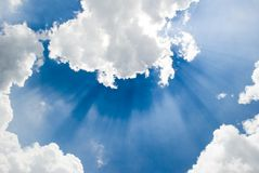 God's rays. The sky beaming with god's ray signifying new hopes and promises Royalty Free Stock Image