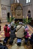 God`s tomb, was exhibited on Holy Saturday and prepared for veneration in the Zagreb Cathedral Royalty Free Stock Photos