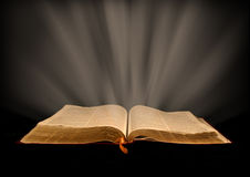 God's Word. Open Bible with rays of light Royalty Free Stock Photo