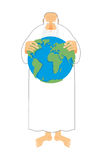 God sees Earth in his hands. Creator keeps the universe. Old gr royalty free illustration