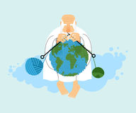 God sitting on cloud and knit planet Earth. Creation of  Earth. An elderly man with beard in white clothes. Knitting balls of wool. Religious illustration Stock Images