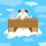 God sitting in office. Almighty of work place in heaven. Grandfa. Ther with beard at work. Holy of work desk. Laptop and phone. Cup of coffee and Bible. Boss of Stock Photos