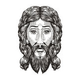God sketch. Jesus Christ drawn in engraving style. Vintage vector illustration Royalty Free Stock Photos