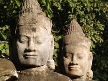 God is smiling. Statues of gods in Angkor Thom, Cambodia Stock Photos