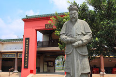 God statue and oriental design of temple in Shatin royalty free stock images