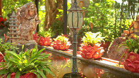 God Statues in Pond among Flowers Plants in Buddhist Temple Park. Different god statues in pond water among flowers tropical plants in modern buddhist temple stock video footage