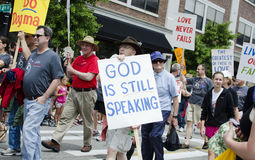 God is still speaking II. Local activists march against hatred towards gays stock photography