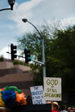 God Is Still Speaking. Participants in Des Moines, Iowa hold signs against hatred of gays in the festival Royalty Free Stock Photos