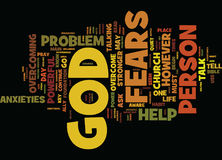God Is Stronger Than Your Fears And Anxieties Word Cloud Concept. God Is Stronger Than Your Fears And Anxieties Text Background Word Cloud Concept Stock Image