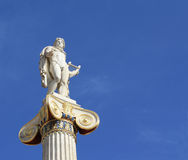 God of the Sun, Apollo. Neoclassical statue of ancient Greek god of the sun, Apollo, outside the Academy of Arts in Athens, Greece, with copyspace stock photo