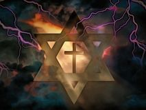 God. Surrealism. Christian cross inside David`s star. Ray of light and lightnings Stock Photo