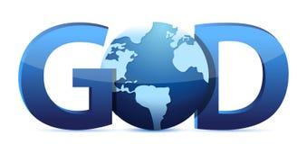 God text and globe stock illustration