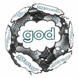 God Thought Clouds Thinking Spiritual Faith Belief Religion. God word in thought clouds to illustrate thinking about spirituality, faith, belief and religion to stock illustration