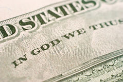 In god we trust. Inscription on a five-dollar denomination close up Stock Images