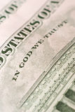 In god we trust. Inscription on a five-dollar denomination close up Stock Photo