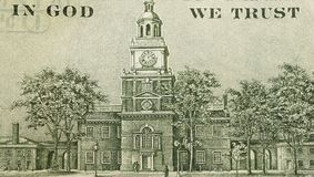 In god we trust. Sign on a one hundred dollars banknote Stock Photo