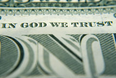 In God We Trust. Close-up on the In God we trust on the one dollar bill Royalty Free Stock Image