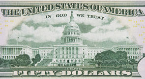 In God We Trust. Detail of Back of 50 Dollar Bill with In God We Trust Detail royalty free stock images