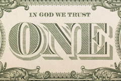 In God we trust - banknote one dollar close-up Royalty Free Stock Images