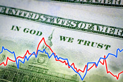In God We Trust and financial graph. In God We Trust phrase from the dollar banknote and financial graph - Financial concept Royalty Free Stock Photography