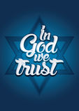 In God we trust. On Israel star background, Vector Royalty Free Stock Image