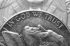 In God we trust. Macro of American coin Stock Image