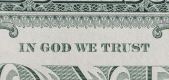 In God We Trust. Macro from One dollar  currency banknote Stock Image