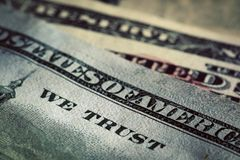 In God We Trust motto on One Hundred Dollars bill. Conceptual, The United States of America Royalty Free Stock Images