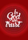 In God we trust. On red circle background, Vector Stock Photography