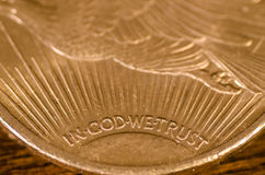 In God We Trust (words) on US Gold Coin Saint-Gaudens Royalty Free Stock Photos