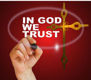 IN GOD WE TRUST. Writing word IN GOD WE TRUST with marker on gradient background made in 2d software Royalty Free Stock Photography