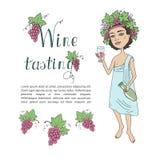 God van wijn Bacchus met een glas wijn ter beschikking Uitnodiging voor wijn het proeven Stock Afbeeldingen