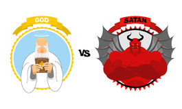 God vs Satan. Good grandfather with white beard and Halo above h Stock Photos