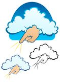 God Wants YOU. The hand of God reaching down from a cloud. Includes full color, flat and black outline versions vector illustration