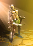 God of war. Illustration godd Areus bold and brave swords in te cave Royalty Free Stock Photos