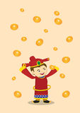 God of Wealth and Falling Gold Coins Chinese New Year Vector Ill Royalty Free Stock Image