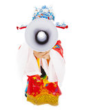 God of wealth holding a megaphone.isolated on white Stock Images