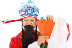 God of wealth holding Red Envelope Stock Photography