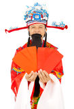 God of wealth holding Red Envelope.isolated on white. Background Stock Images