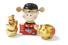 God of Wealth with Piggybank and Ingots Royalty Free Stock Photography