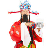 God of wealth pointing a compute machine. Over white background Royalty Free Stock Image