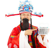 God of wealth pointing a compute machine. Over white background Stock Photo