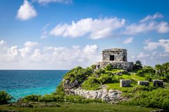 God of winds Temple and Caribbean sea - Mayan Ruins of Tulum, Mexico Stock Photography