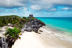 God of Winds Temple guarding Tulum's sea entrance bay Royalty Free Stock Photography