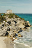 God of Winds Temple guarding Tulum's sea entrance bay. In Quintana Roo, Mexico Stock Photography