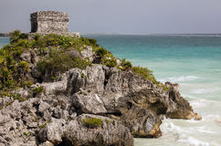 The God of Winds Temple in Tulum. The ancient Mayan God of Winds Temple, guarding Tulum`s sea entrance bay in Quintana Roo, Mexico Stock Images