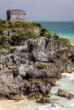 The God of Winds Temple in Tulum. The Ancient Mayan God of Winds Temple, guarding Tulum`s sea entrance bay in Quintana Roo, Mexico Royalty Free Stock Photography
