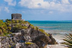 God of Winds Temple on turquoise Caribbean sea. Ancient Mayan ruins in Tulum, Mexico, Yucatan.  royalty free stock photography